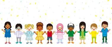 De holding overhandigt Multi Etnische kinderen op stan confettienachtergrond, vector illustratie