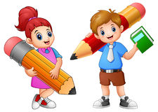 De holding van beeldverhaalkinderen een potlood vector illustratie