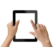 De holding van de hand en wat betreft op tablet-PC Stock Foto's