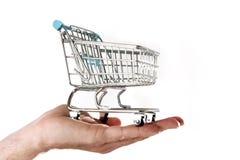 De holding van de mensenhand in palm weinig metaal het winkelen karretje in handels en bedrijfsconcept Stock Foto's