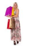 De holding van de vrouw het winkelen zakken tegen Royalty-vrije Stock Foto