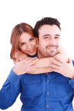 De holding van de vrouw met liefde haar vriend Stock Foto