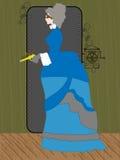 De holding van de Vrouw van Steampunk raygun in het rustieke plaatsen - Royalty-vrije Stock Fotografie
