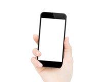De holding van de vrouwenhand telefoon geïsoleerde het knippen weg binnen Royalty-vrije Stock Afbeeldingen