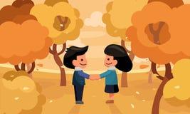 De holding van de paarhand in de tuin Het seizoen van de herfst Weg in dalingsbos vector illustratie