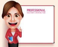 De Holding van Vector Character Smiling van de schoolleraar boekt terwijl het Onderwijzen van Lessen Royalty-vrije Stock Foto
