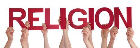 De Holdings Rode Rechte Word van mensenhanden Godsdienst royalty-vrije stock foto