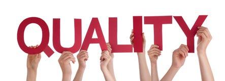 De Holdings Rode Rechte Word van mensenhanden Kwaliteit Royalty-vrije Stock Afbeeldingen
