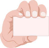 De holdingsadreskaartje van de hand Royalty-vrije Stock Afbeeldingen