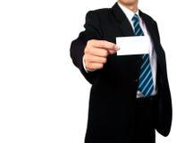 De holdingsadreskaartje van de zakenman Stock Afbeelding