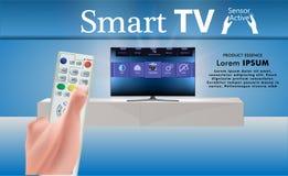De holdingsafstandsbediening van de hand TV-pictogramconcept 3D Illustratie vector illustratie