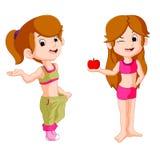 De holdingsappel van het twee meisjesdieet Stock Afbeeldingen