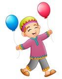 De holdingsballon van de beeldverhaal Moslimjongen stock illustratie