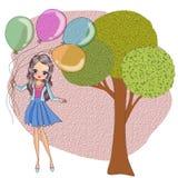 De holdingsballons van het jonge geitjesmeisje royalty-vrije illustratie