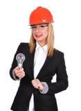 De holdingsbol van de vrouweningenieur Stock Afbeeldingen