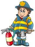 De holdingsbrandblusapparaat van de brandweerman stock illustratie