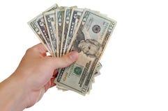 De holdingscontant geld van de hand Stock Afbeelding
