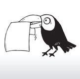 De holdingsdocument van de vogel in mond Stock Afbeelding