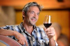 De holdingsglas van de mens wijn Stock Fotografie
