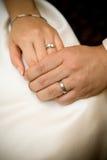 De holdingshanden van de bruid en van de bruidegom Royalty-vrije Stock Afbeeldingen