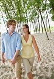 De holdingshanden van het paar bij strand Stock Afbeelding