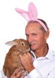 De holdingskonijn van de mens, dat roze konijnoren draagt Stock Afbeeldingen