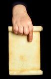 De holdingsmanuscript van de hand stock foto
