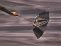 De holdingsparaplu van de mens in wind stock afbeeldingen