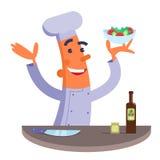 De holdingsplaat van de beeldverhaalchef-kok met salade Stock Afbeeldingen