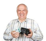De holdingsportefeuille van de mens met geld Stock Foto's
