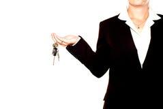 De holdingsreeks van de vrouw sleutels Stock Foto's