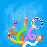 De Holdingsroomijs Toy Cocktail Symbol van de handengroep royalty-vrije illustratie