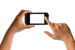 De holdingssmartphone van de hand met het lege scherm Royalty-vrije Stock Afbeelding