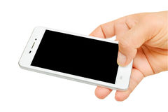 De holdingssmartphone van de hand met het lege scherm Stock Foto's