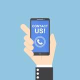 De holdingssmartphone van de zakenmanhand met contact ons tekst vector illustratie