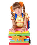 De holdingsstapel van het meisje van boeken. royalty-vrije stock foto