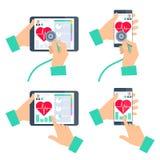 De holdingsstethoscoop van de artsen` s hand en het controleren van hartslag vector illustratie