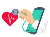 De holdingsstethoscoop van de artsen` s hand door de controle van het telefoonscherm Stock Afbeelding