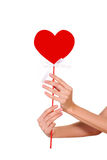 De holdingsteken van de handenclose-up van hart Royalty-vrije Stock Fotografie