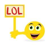 De holdingsteken van Emoticon met   Stock Afbeeldingen