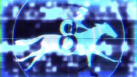 De holografische retro futuristische aftelprocedure met cowboy op paard op zwarte glitched algemene begrip van de achtergrondanim vector illustratie