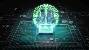 De hologramhersenen op cpu-spaander, kweken kunstmatige intelligentietechnologie royalty-vrije illustratie