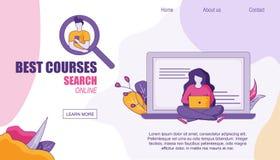 De Home page die van het Webontwerp Beste Cursussen online zoeken stock illustratie