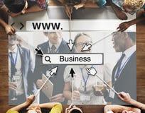 De Homepage van BEDRIJFS WWW Online Word Onderzoeksconcept Stock Foto's