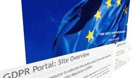 De homepage van de EU GDPR stock footage