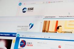 De homepages van Shanghai, van Shenzhen en Hong Kong Stock Exchange- Stock Afbeelding