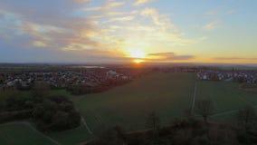 De hommelfoto van zonsonderganggebieden Stock Afbeelding