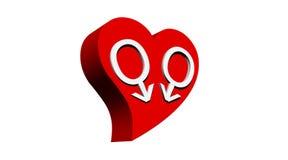 De homoseksuelen koppelen in rood hart Royalty-vrije Stock Foto's