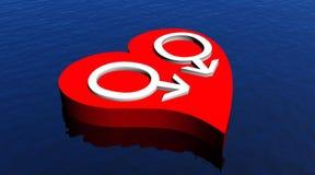 De homoseksuelen koppelen in rood hart dat in de oceaan drijft Stock Foto