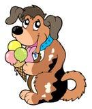 De hond die van het beeldverhaal roomijs eet Stock Foto's